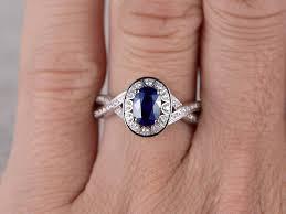 plain band engagement ring myray 14k white gold pear shaped genuine blue sapphire
