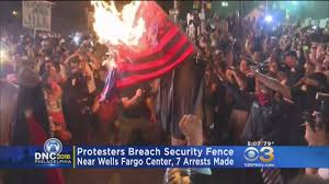 Flag Burning Protest Chaotic Scene Outside Wells Fargo Center After Protesters Breach
