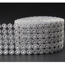 bling ribbon 90cm flower diamond studded ribbon home decor mesh bling