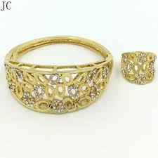 bracelet with ring set images New design good quality dubai gold jewelry sets bangle ring sets jpg