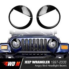 wrangler jeep black glossy black angry bird headlight bezels for jeep wrangler tj 1997
