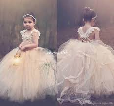 2015 ball gown lace flower girls dresses champagne tutu cheap