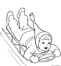 kid playing sled winter s9095 coloring pages printable
