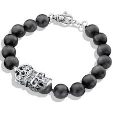 onyx bracelet with diamonds images Onyx bead silver crown skull bracelet jpg&a