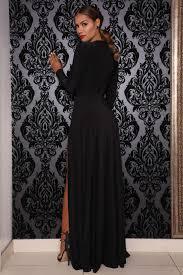 black long sleeve double slit a line open neck floor length