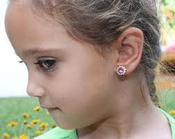 toddler earrings pink clip earrings pink swarovski clip ons