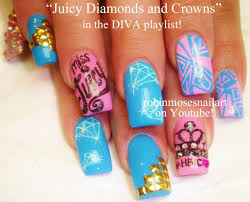 pink and teal diva nail art diamonds u0026 crowns bling nails design
