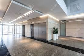 modern business centre corridor and elevators stock photo