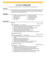 Service Advisor Resume Sample by Best Entry Level Mechanic Resume Example Livecareer