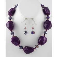 necklace with purple stone images 2018 chunky purple faux stone necklace earring jewelry set new jpg