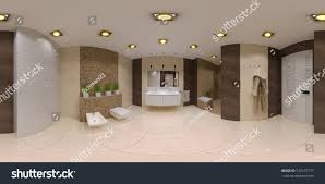 Bathroom Interior by Render Spherical 360 Panorama Bathroom Interior Stock Illustration