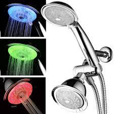 powerspa 7 color 24 setting led shower head combo chrome single