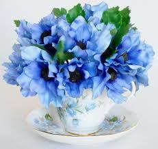 teacup silk flower arrangement cornflower blue anemones