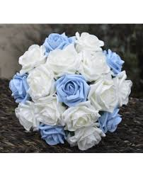 white and blue roses light blue bridesmaid bouquet small bridal posy with white