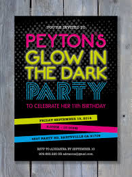 Black Light Halloween Party by Glow In The Dark Party Invitation For Birthday Black Light
