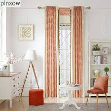 Orange Panel Curtains Striped Printed Curtains Bedroom Ready Made Window Panel Curtains