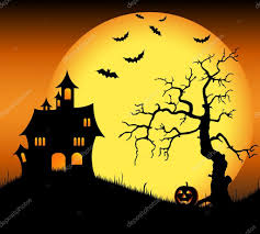 halloween haunted castle with bats and tree u2014 stock vector