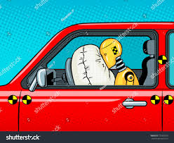 crash test dummy car after accident stock vector 773355079