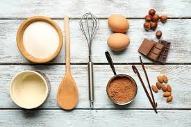 Kitchen Utensils Food Ingredients And Kitchen Utensils For Cooking On Wooden