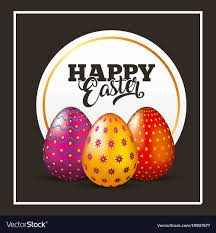 decorative eggs happy easter card decorative eggs lettering black vector image
