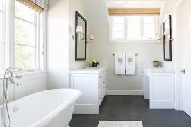 white and gray bathroom with freestanding washstand transitional