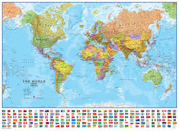 Magnetic Map Of Usa by Large World Wall Map Political With Flags Magnetic Board And Frame