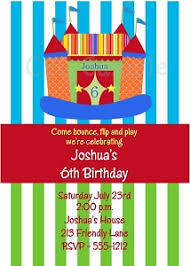 invitations featuring bounce house and circus themes