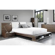 sonoma bed with wide wood headboard and bookcase by mobican