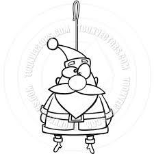 cartoon santa claus christmas ornament black and white line art