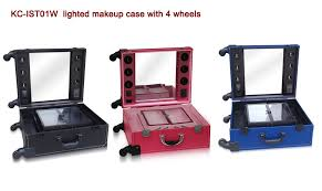 Professional Makeup Artist Lighting New Design Leather Look Trolley Makeup Case With Lights Lighted