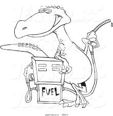 vector of a cartoon dinosaur standing by a gas pump coloring