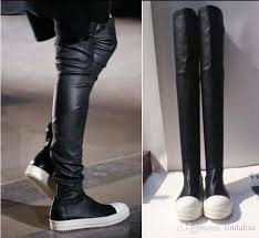 s knee boots on sale fashion tide s owens black thigh high sock sneakers