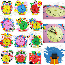 12 design lot diy foam clock craft kits art cartoon clock