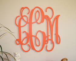 Metal Wall Letters Home Decor 24 Painted Wood Monogram Initials Wall Decor Hanging