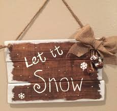 wooden christmas signs farmhouse christmas decor let it snow