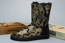s gissella ugg boots ugg butterfly purple boots 1002195 in black gold