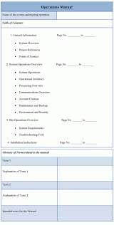 operations contract templates