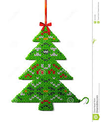 christmas tree of knitted fabric with ornament stock vector