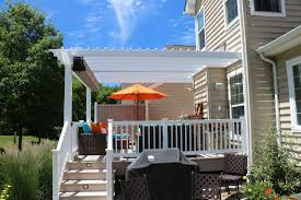 White Vinyl Pergola by Decks Com Paradise Pa Deck Builder Pictures Decks R Us Llc