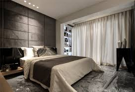 interior bedroom large window treatments ideas with modern bed