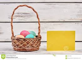 blank easter baskets easter basket and blank card stock photo image 89741824