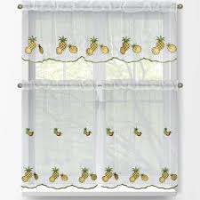 window elements sheer pineapple embroidered 3 piece kitchen