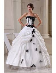 corset wedding black and white corset ballgown taffeta wedding dress with