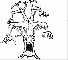 impressive scary halloween tree coloring pages with scary coloring