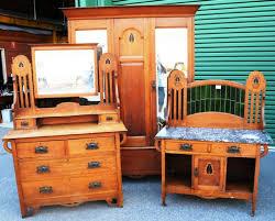 Art Nouveau Oak  Piece Bedroom Suite Wardrobes And Bedroom - Art nouveau bedroom furniture