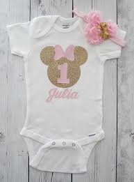 birthday onesie girl minnie mouse birthday onesie in pink and gold with zoey s