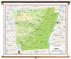 Arkansas State Map With Cities by Arkansas State Physical Classroom Map From Academia Maps