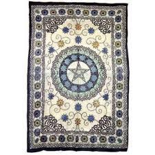 Pentacle Rug Pentagram Floral Flowers Celtic Wicca Altar Cloth Bedspread