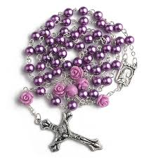 purple rosary hedi 6mm purple color pearl rosary with 6pcs our
