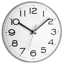 standard classic white office wall clock with large black numbers
